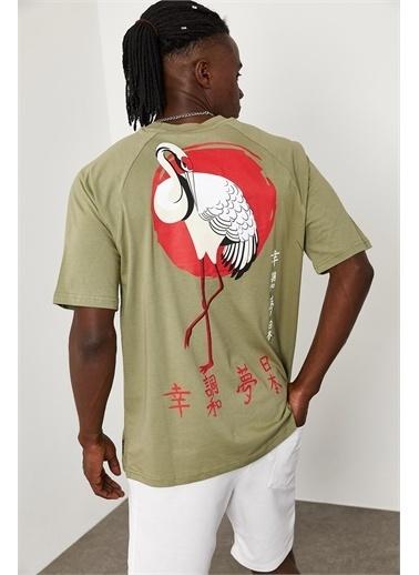 XHAN Flamingo Baskılı Oversize T-Shirt 1KXE1-44663-09 Haki